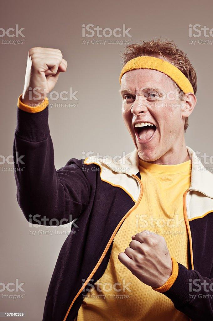 Retro Gym Coach Cheering On His Team royalty-free stock photo