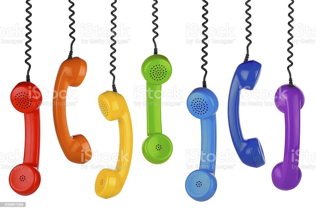 retro handset row stock photo