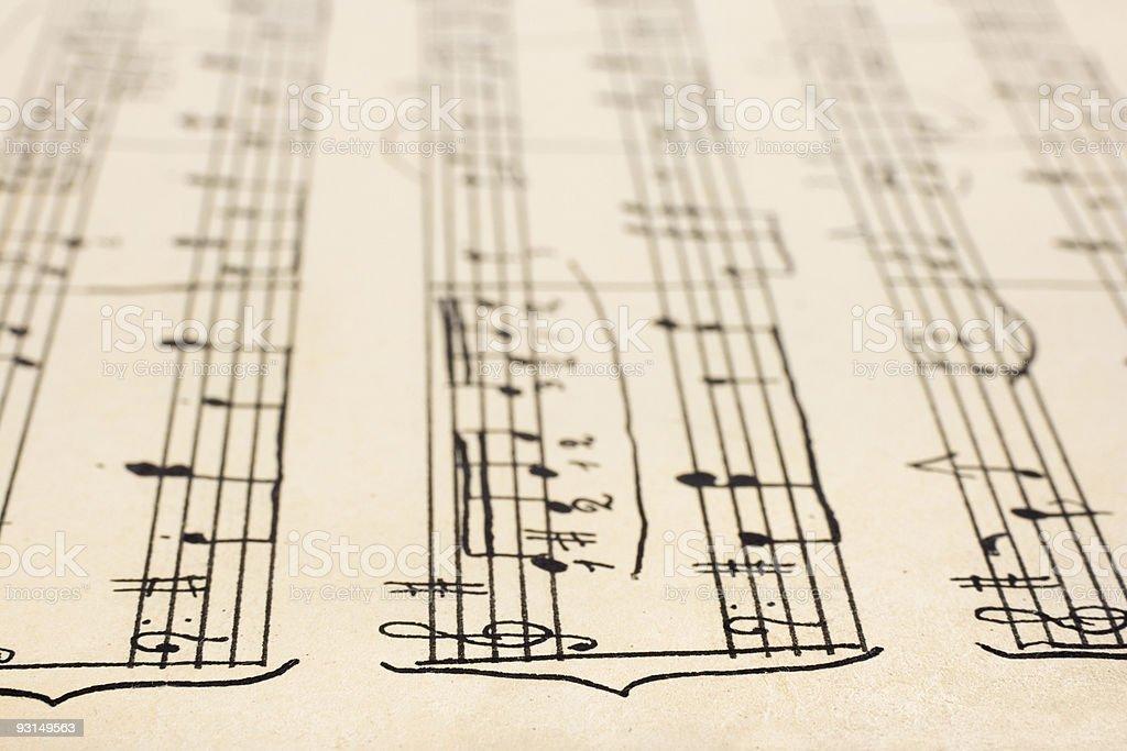 Retro handwritten sheet music royalty-free stock photo