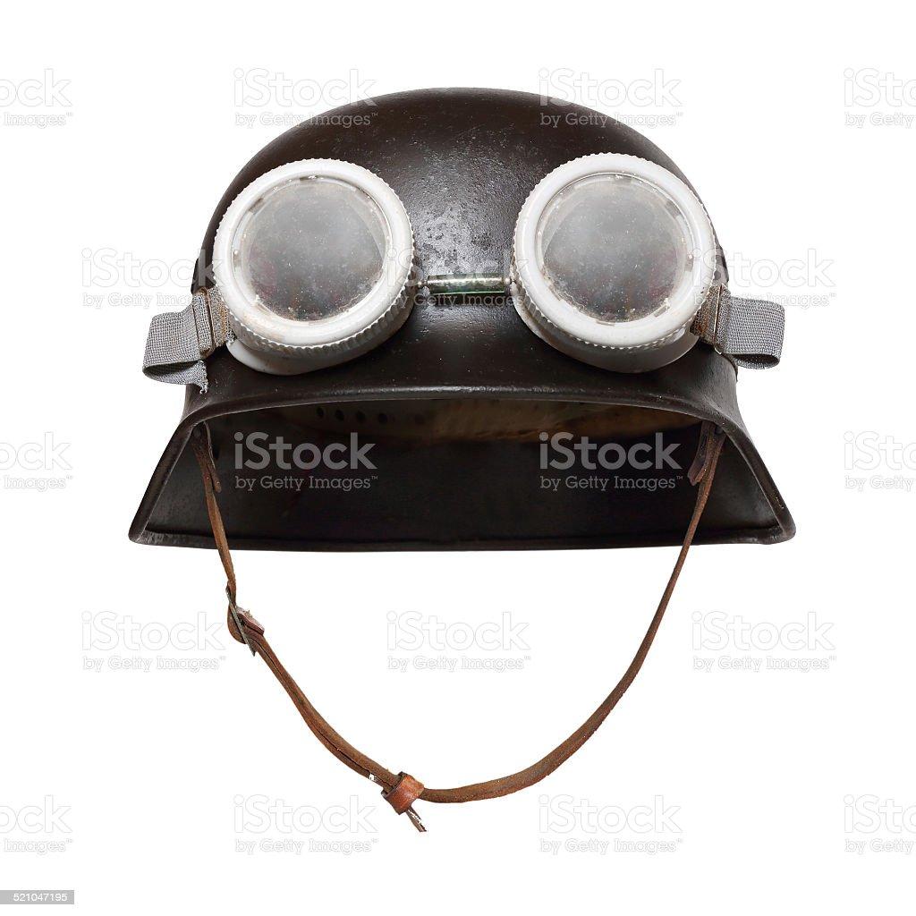 Retro helmet with goggles. stock photo