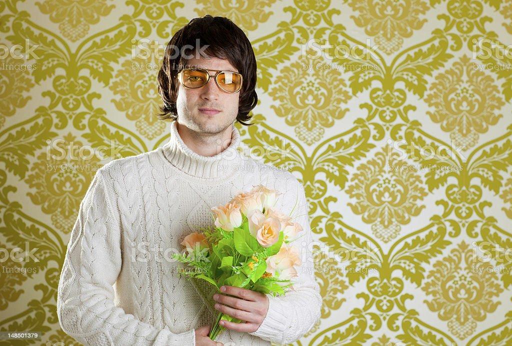 retro hip man holding valentines flowers stock photo