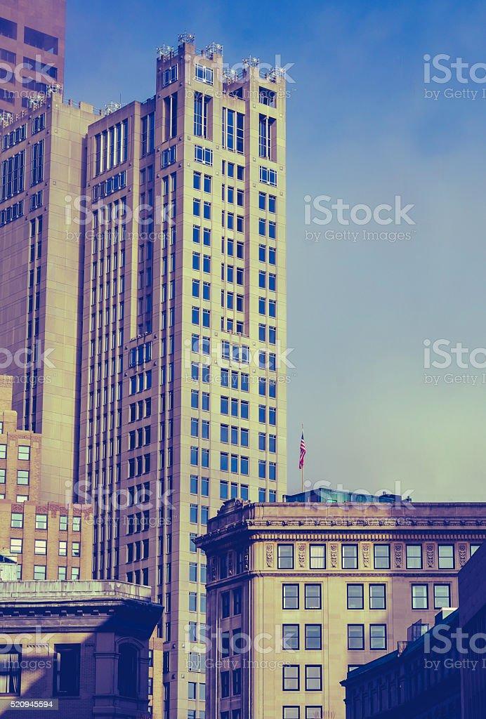 Retro Historic Downtown Boston stock photo