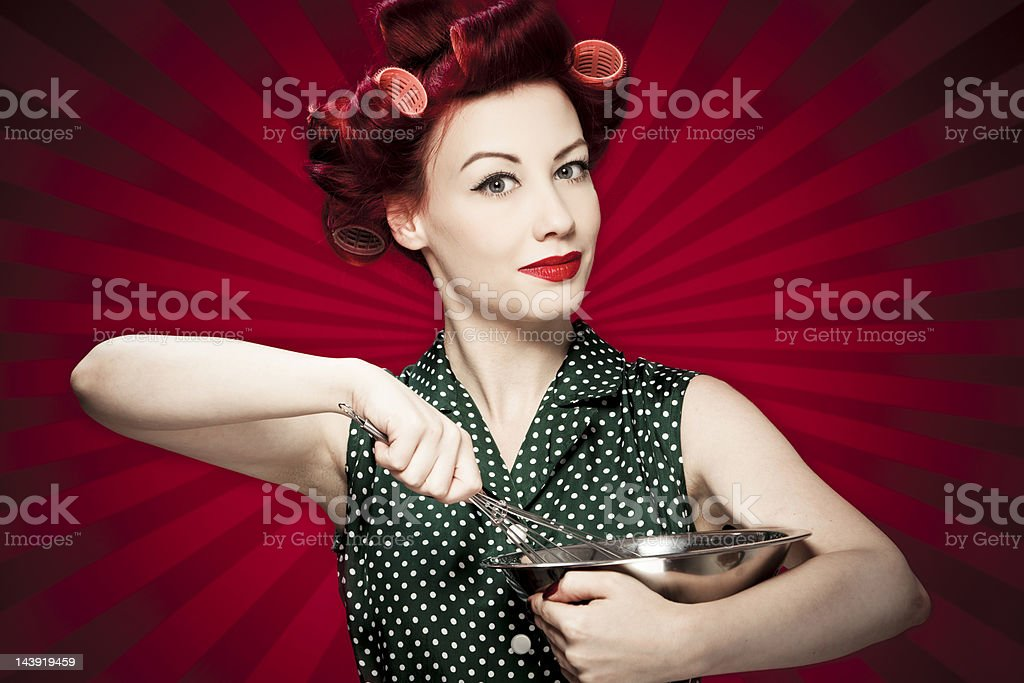 Retro housewife stock photo