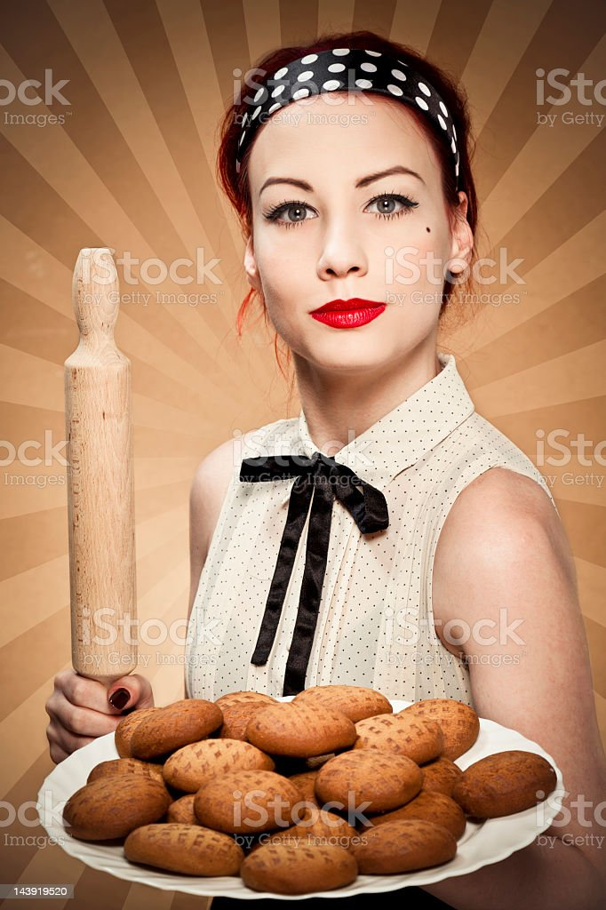 Retro housewife royalty-free stock photo