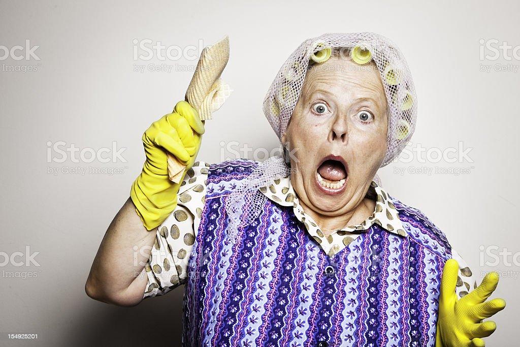 retro housewife portrait surprise royalty-free stock photo