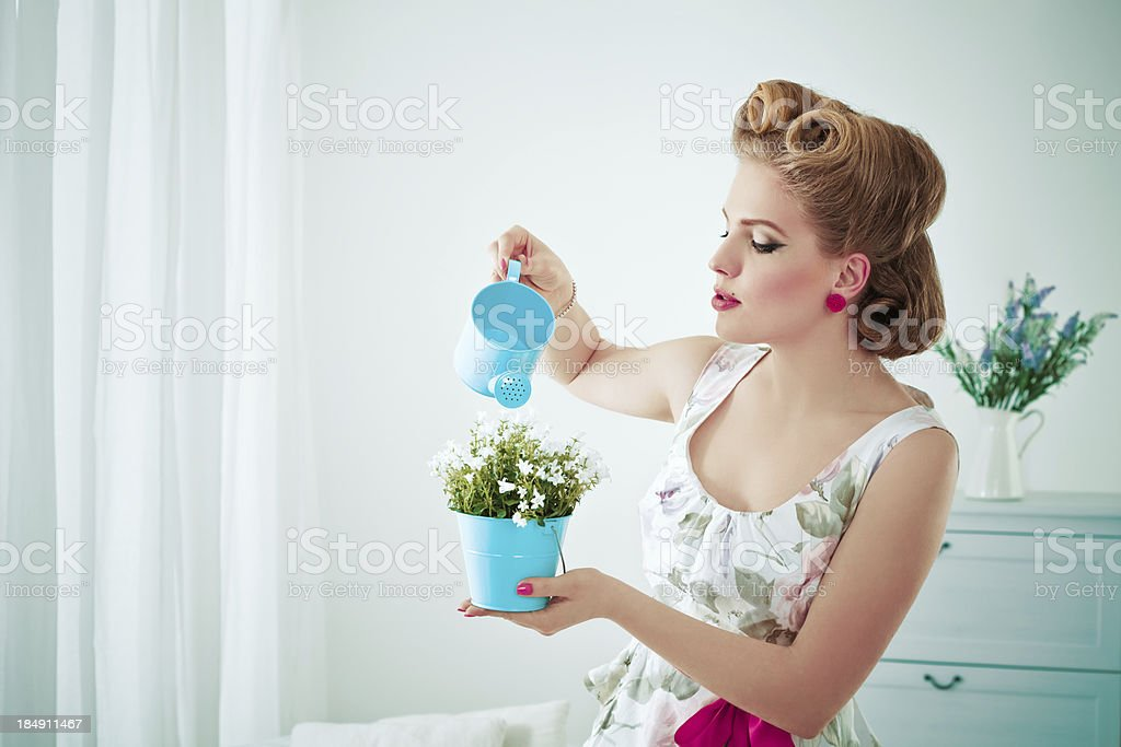 Retro housewife watering flower royalty-free stock photo