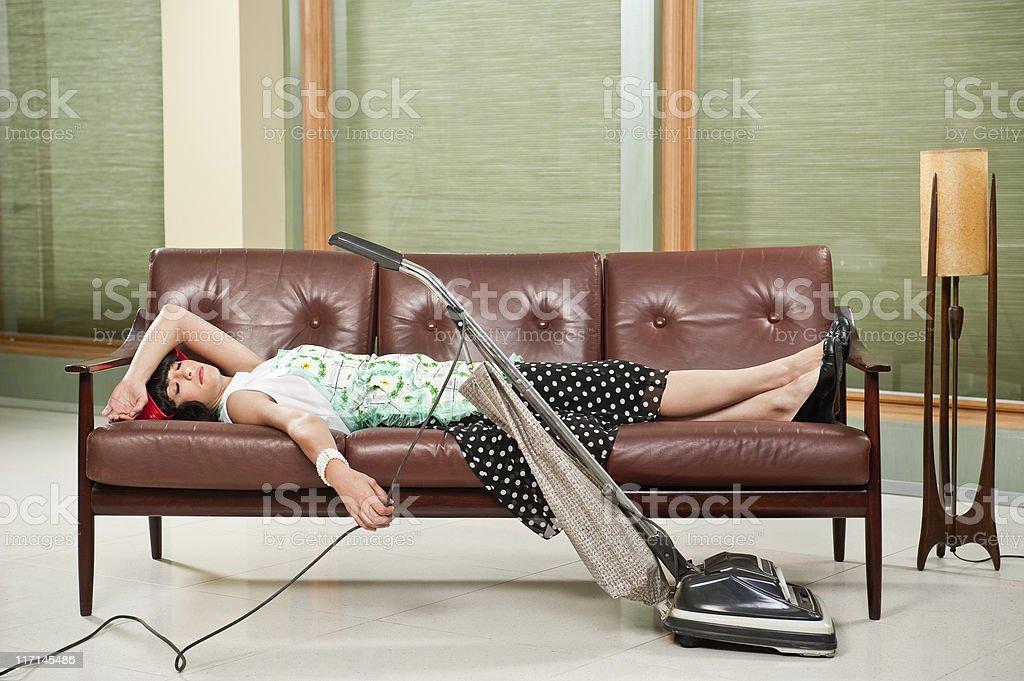 Retro Houswife Napping stock photo