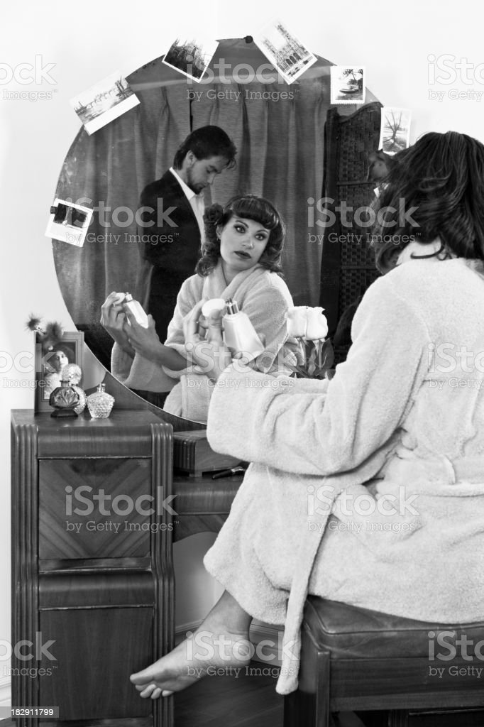 Retro Husband & Wife Getting Dressed royalty-free stock photo