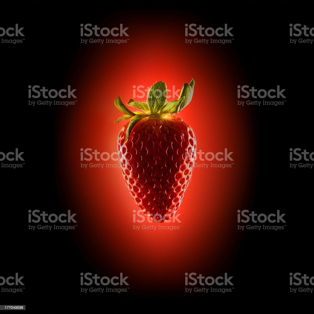 Retro Illuminated Strawberry Fruit.Food stock photo