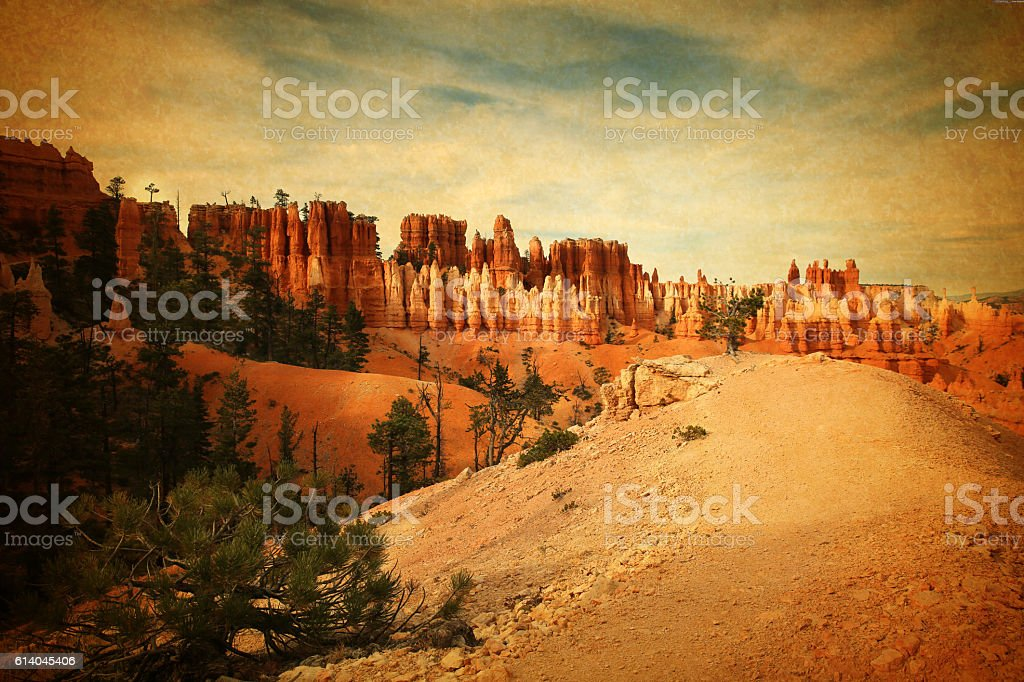 Retro Image of Bryce Canyon National Park Footpath stock photo