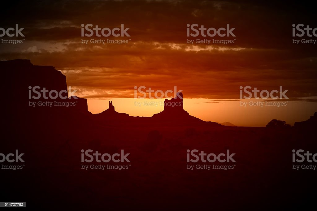 Retro Image Of Monument Valley Sunset stock photo
