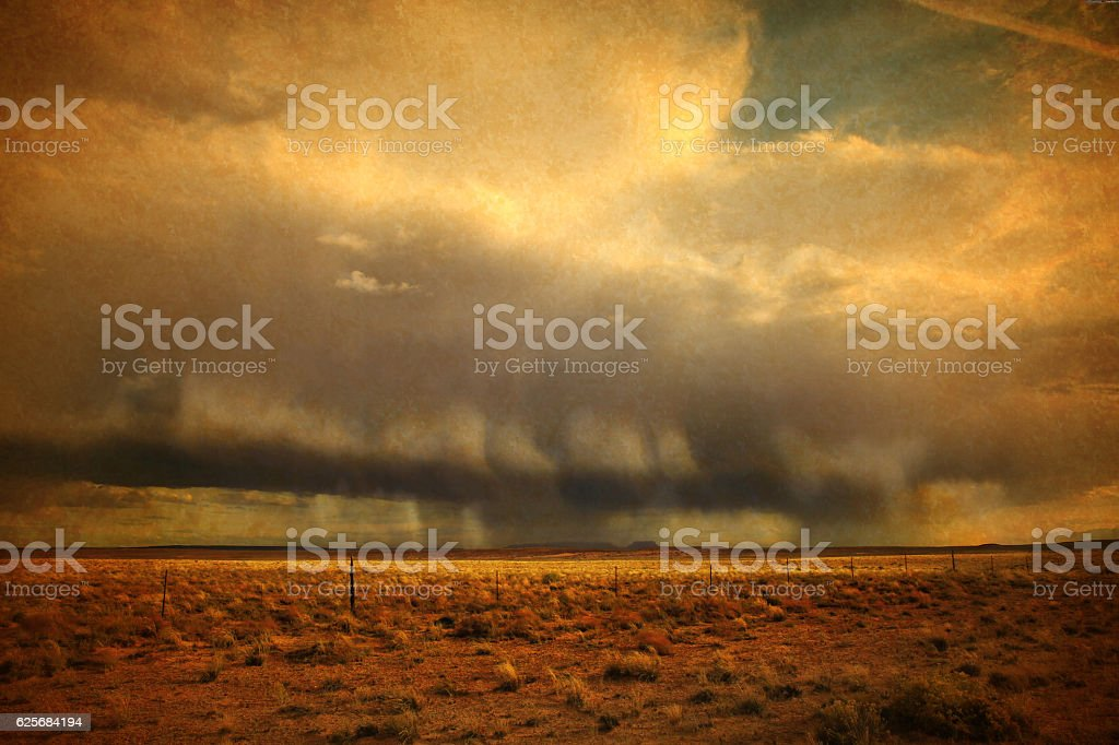 Retro Image of Strong thunderstorms rolling across Southwest USA stock photo