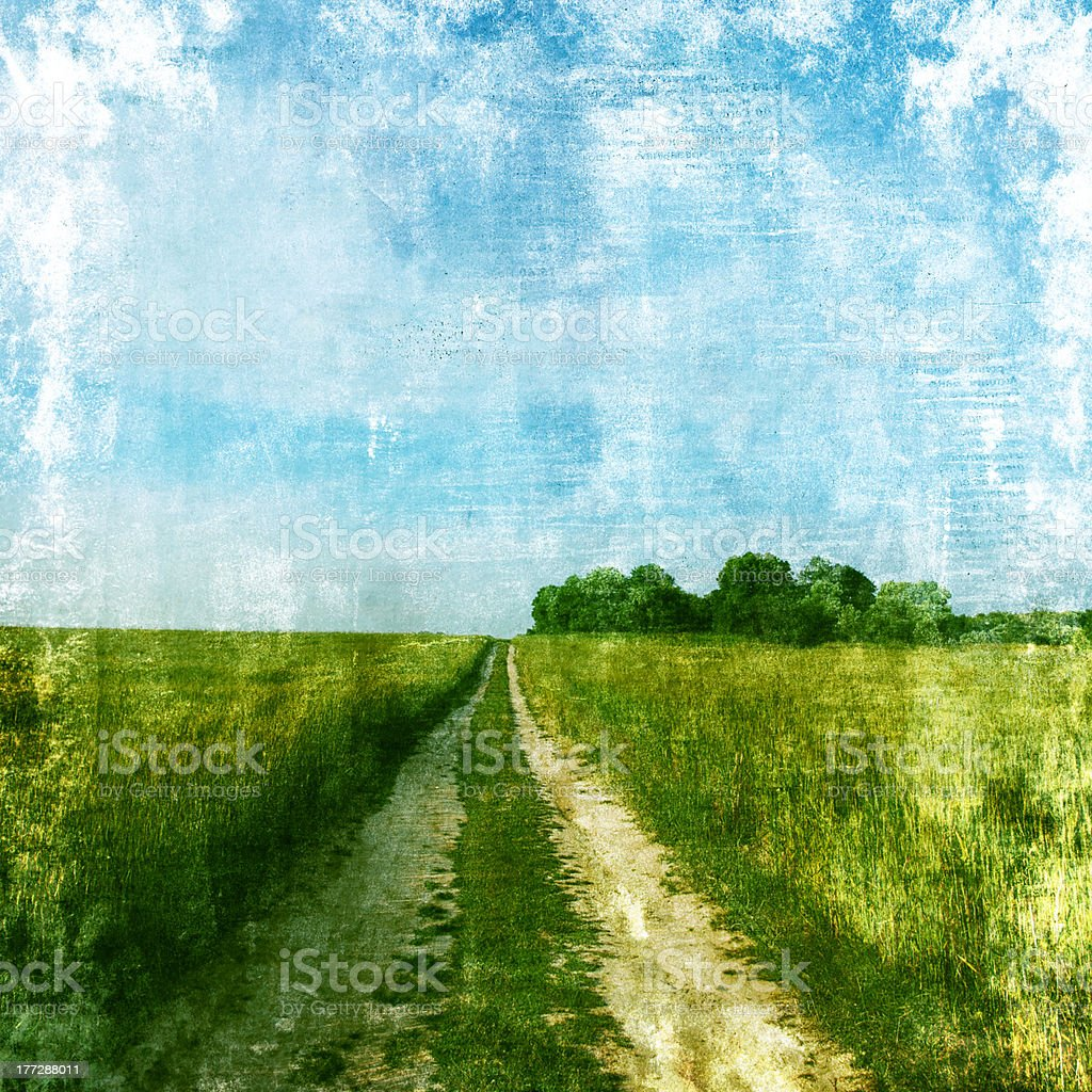 Retro image of summer landscape with road. royalty-free stock photo