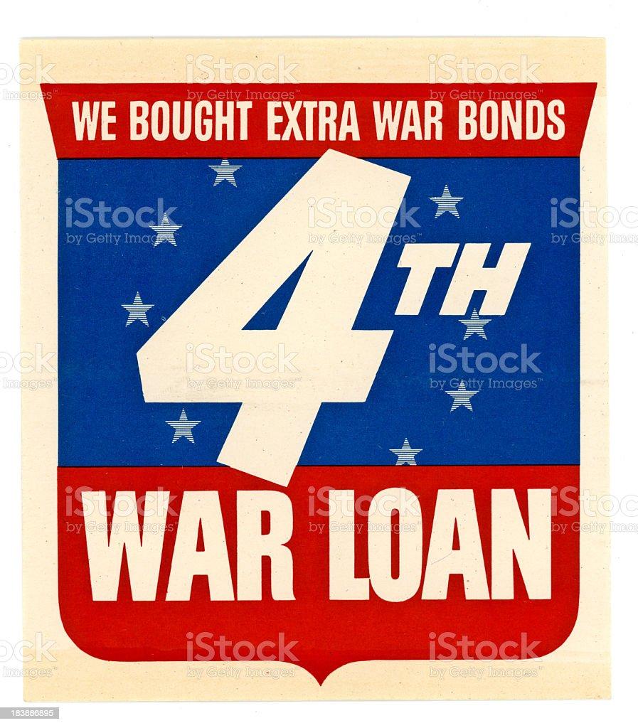 Retro Image World War II Vintage Army Liberty Bond Flier stock photo