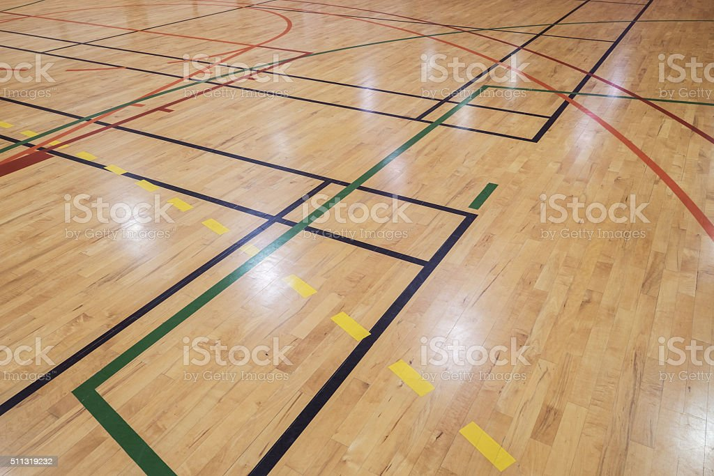 Retro indoor gymnasium floor stock photo