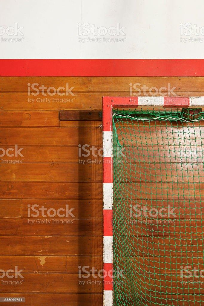 Retro indoor gymnasium goal stock photo