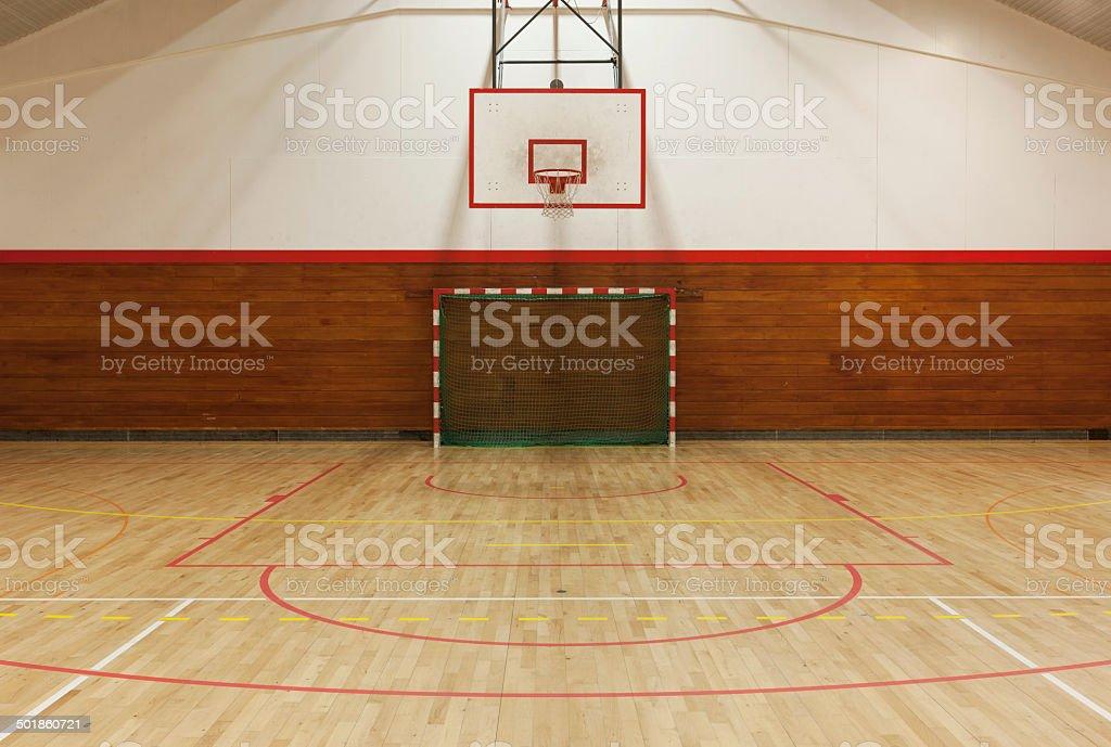 Retro indoor gymnasium stock photo