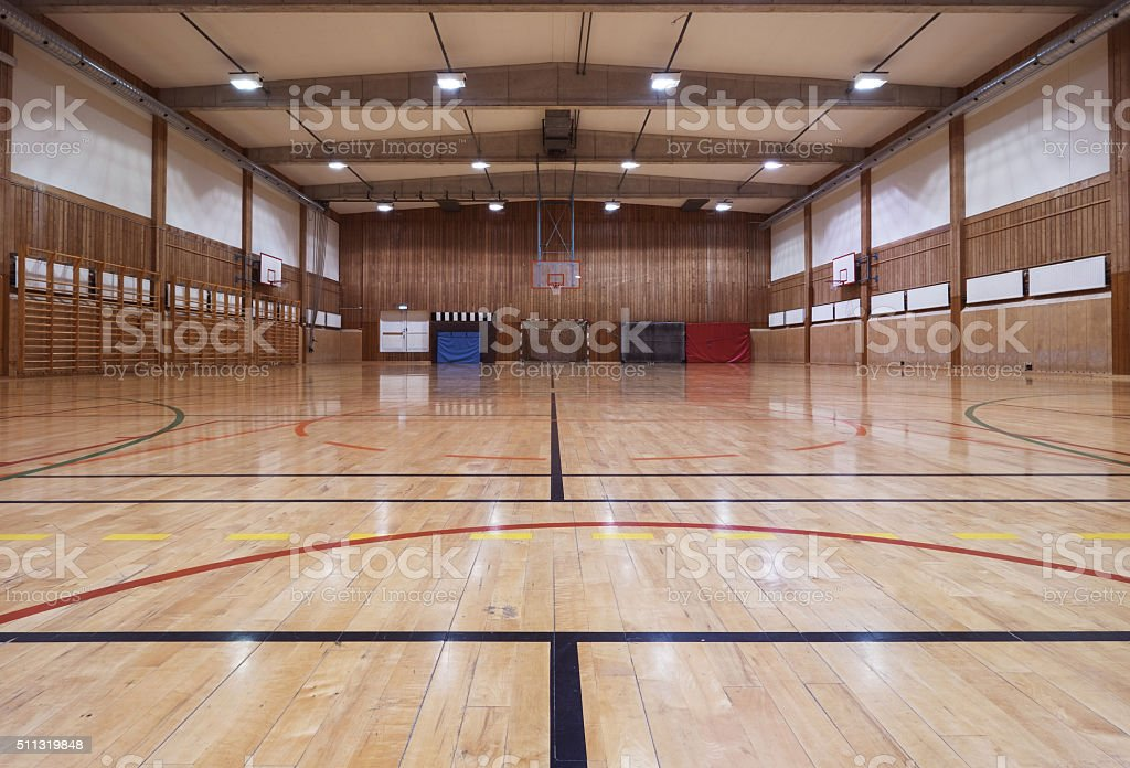 Retro indoor gymnasium stock photo