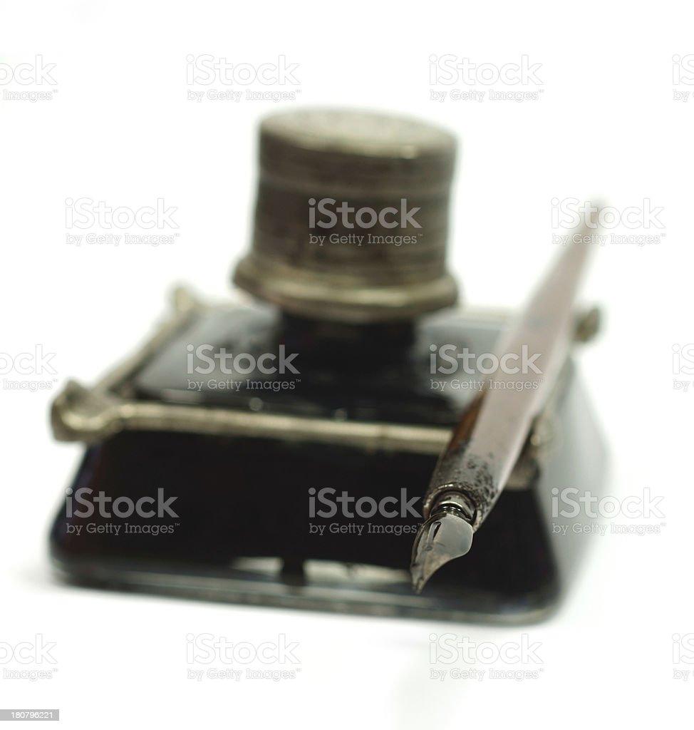 Retro ink bottle and Nib pen royalty-free stock photo