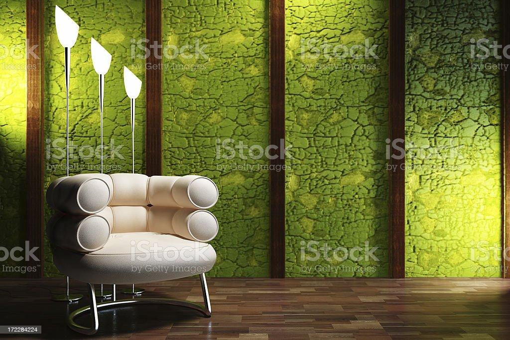 retro interior render (CGI) royalty-free stock photo