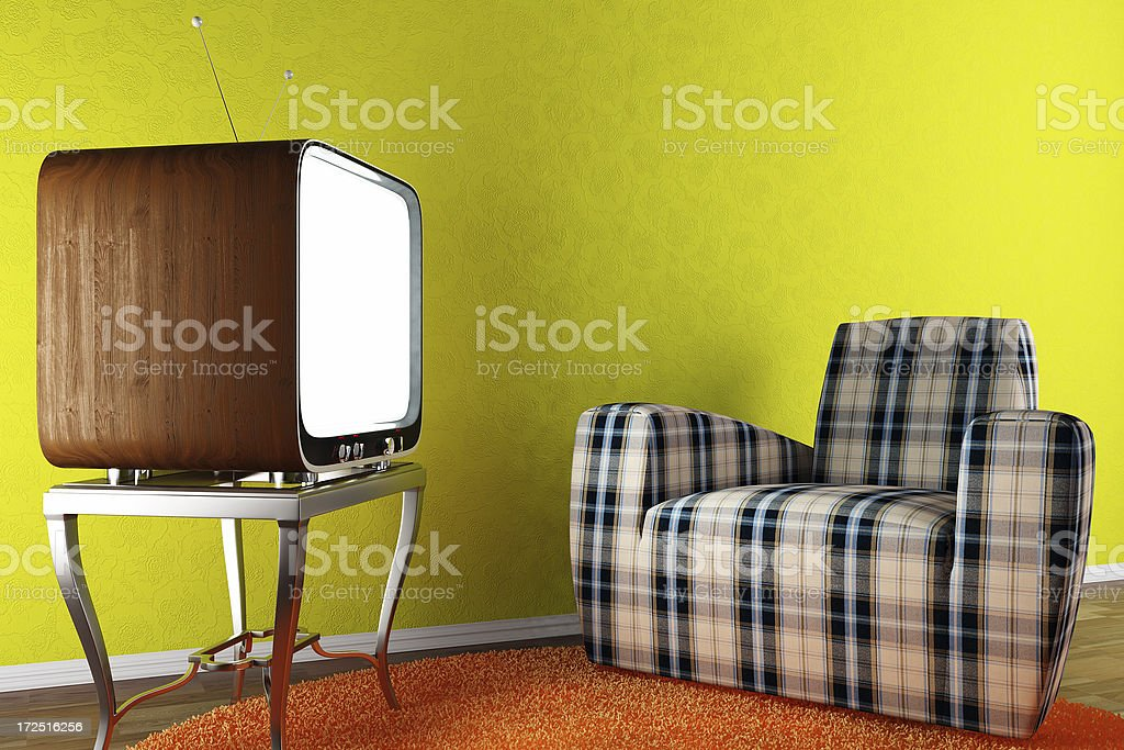 retro interior render (CGI) stock photo