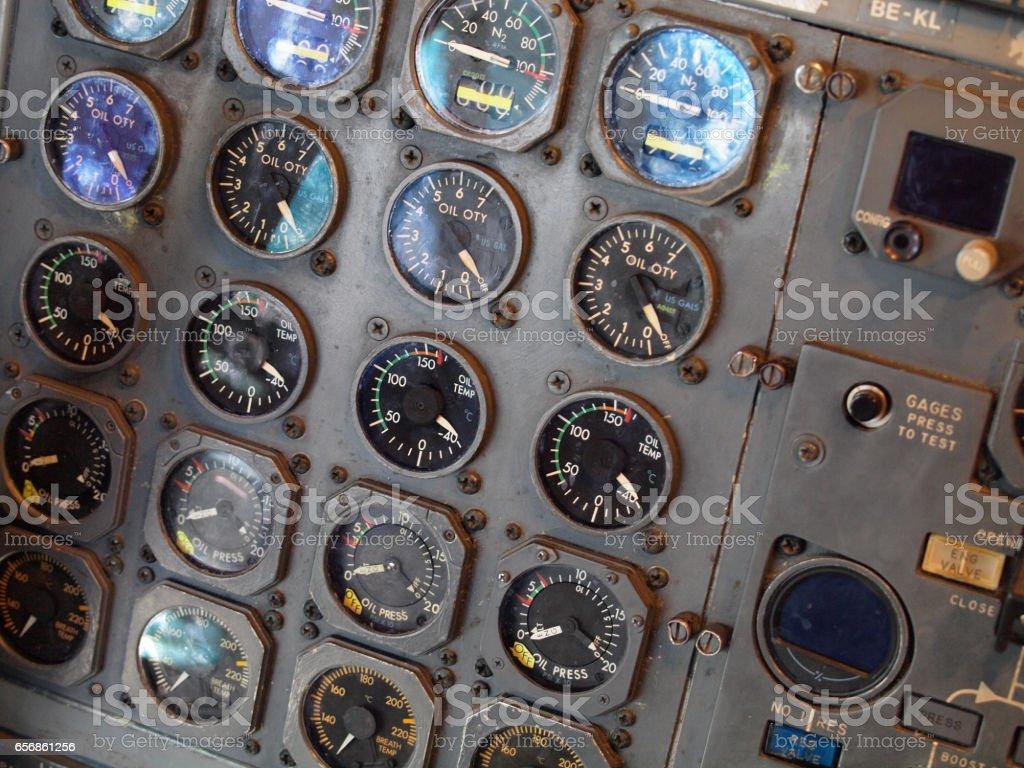 Retro Jet aircraft cockpit Equipment stock photo