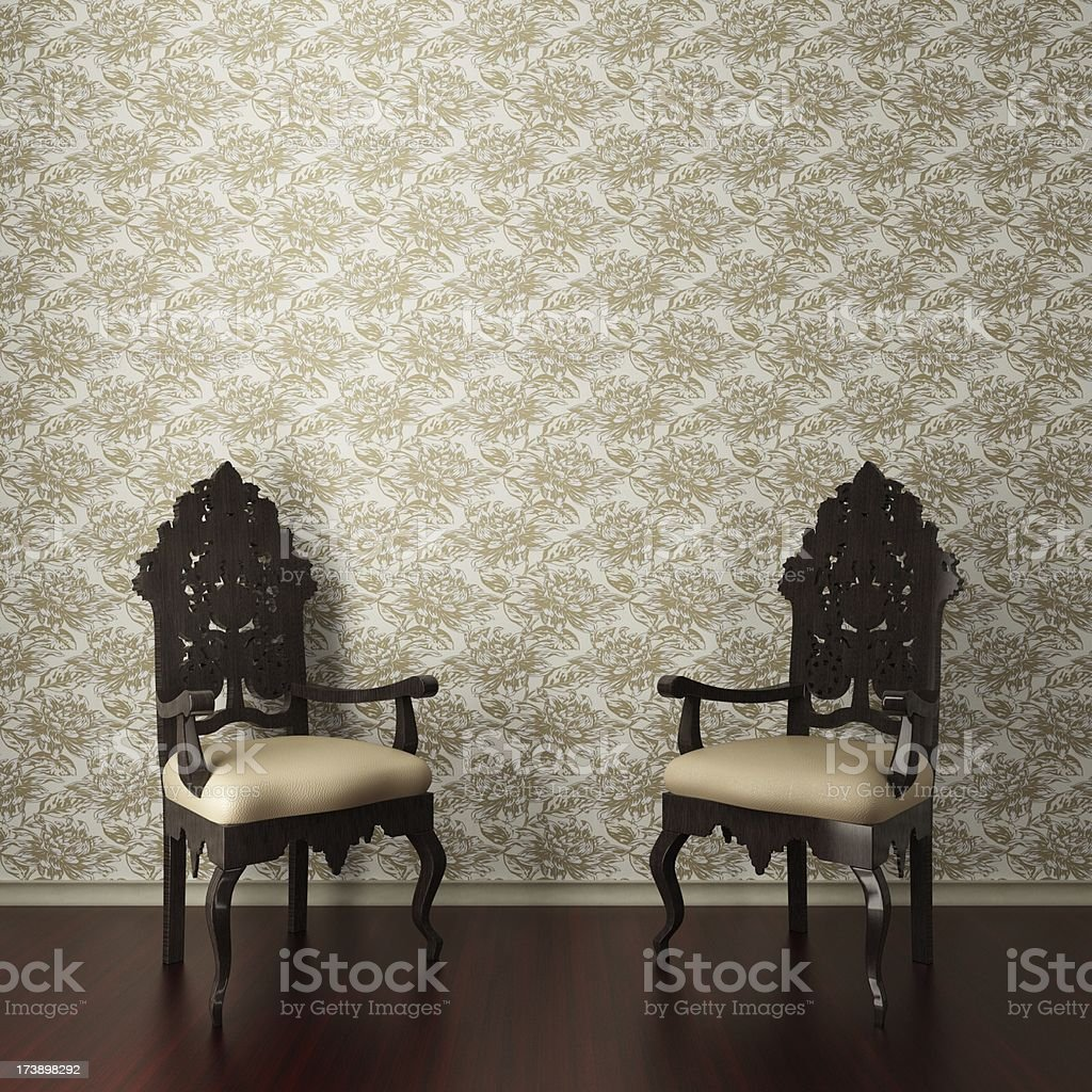 Retro King Armchairs royalty-free stock photo