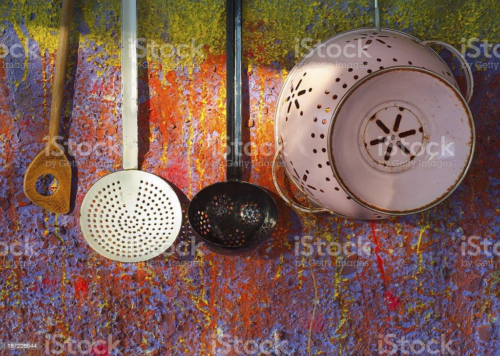 retro kitchen utensils royalty-free stock photo