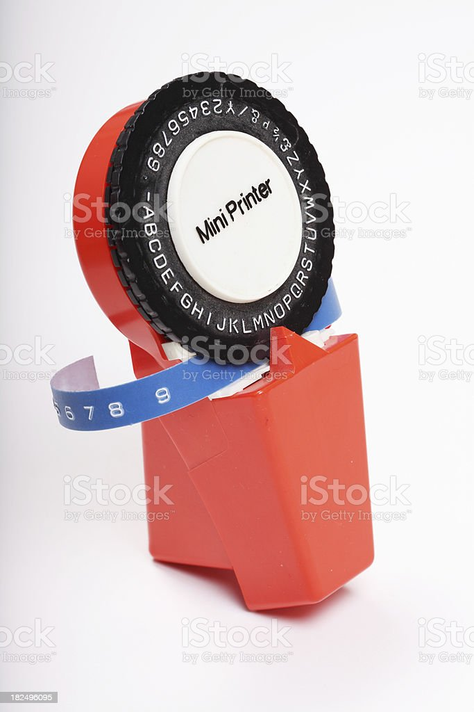 retro label making machine stock photo