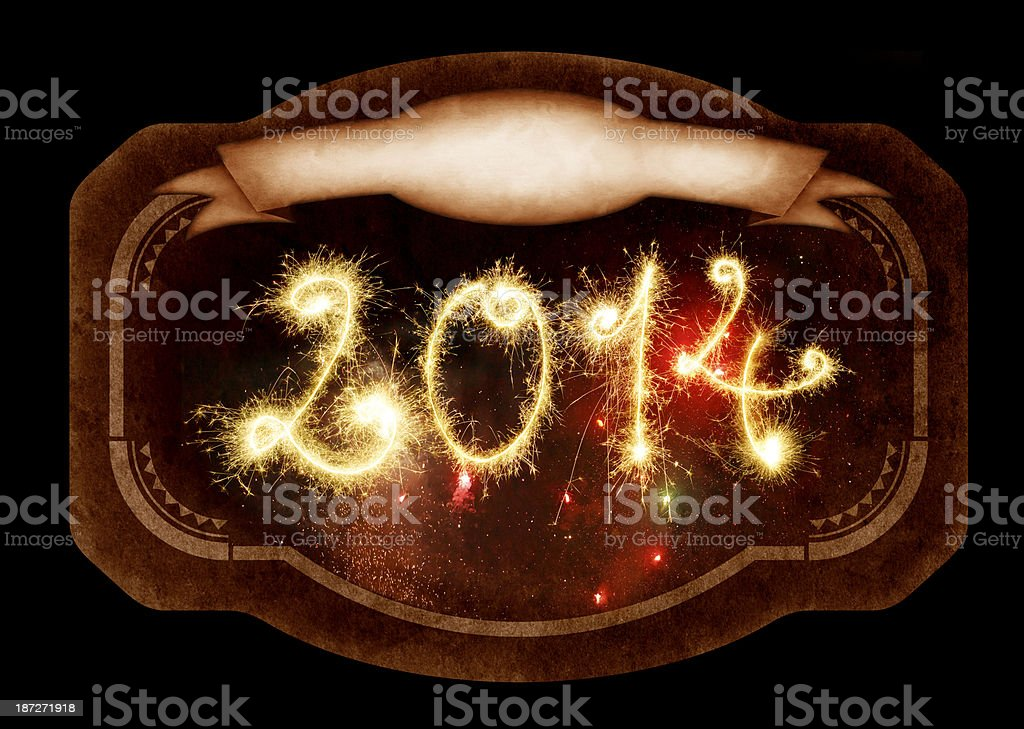 Retro Label With Sparkling 2014 royalty-free stock photo