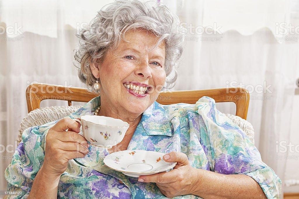 retro lady drinking coffee royalty-free stock photo