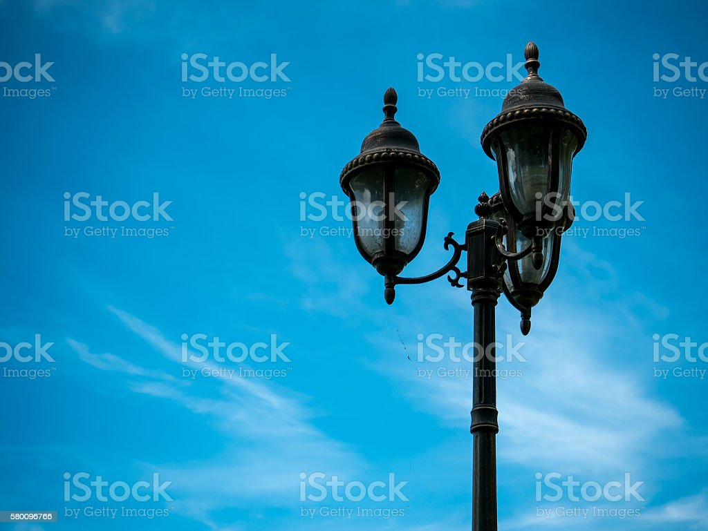 Retro Lamps on blue sky stock photo