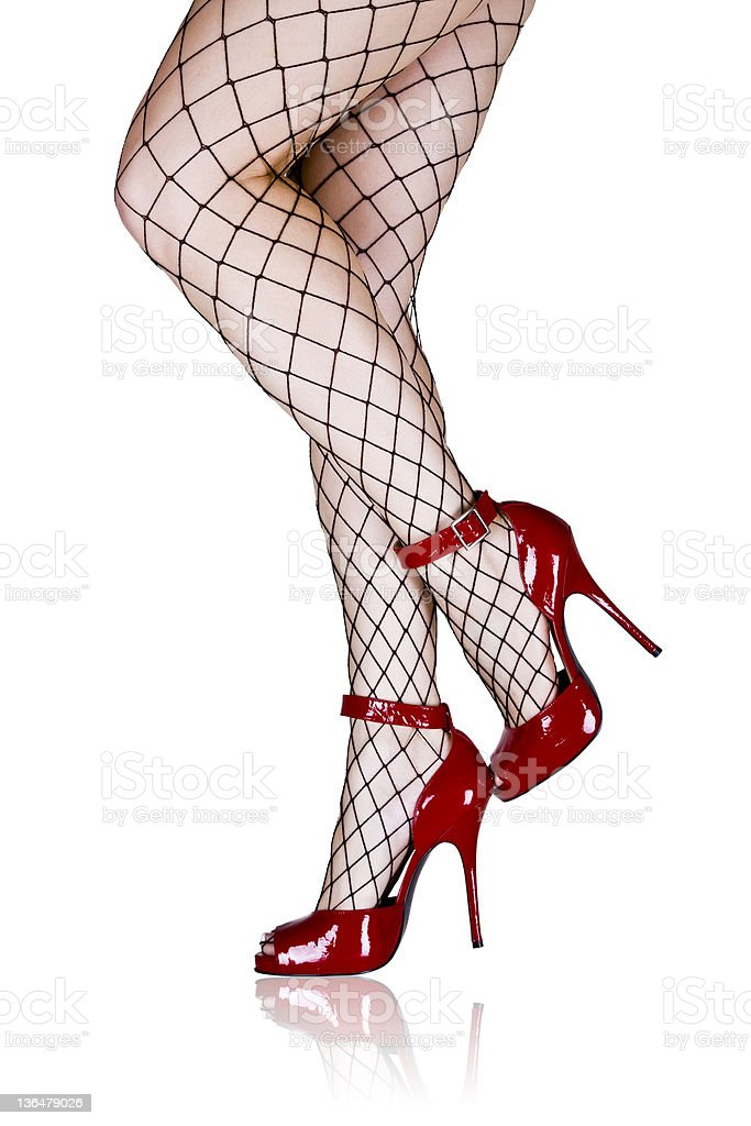 Retro Legs in Fishnet Stockings stock photo
