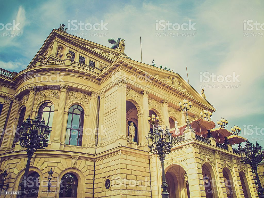 Retro look Alte Oper in Frankfurt stock photo