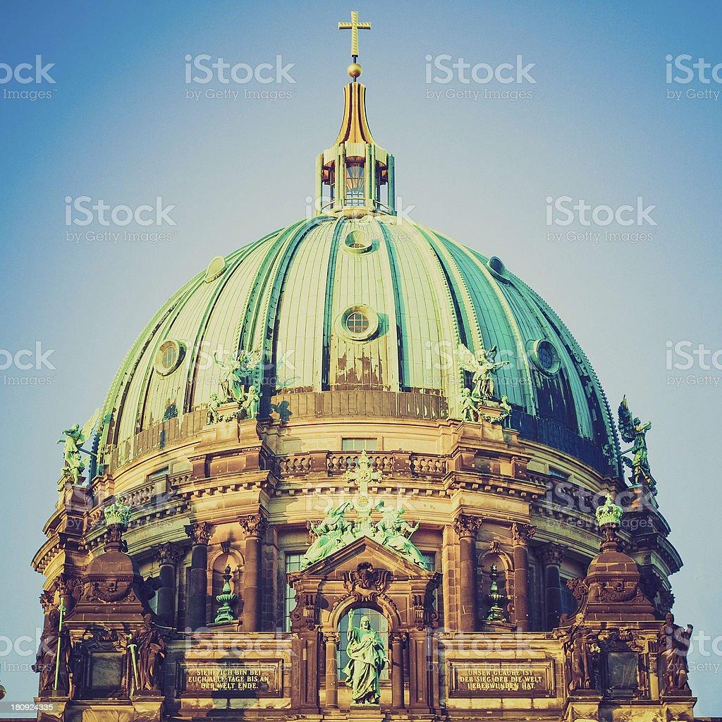 Retro look Berliner Dom stock photo