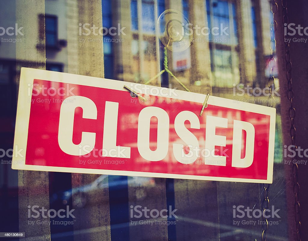 Retro look Closed sign stock photo