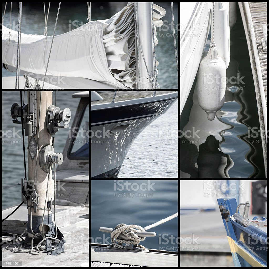Retro look collection of yacht sailboat details royalty-free stock photo