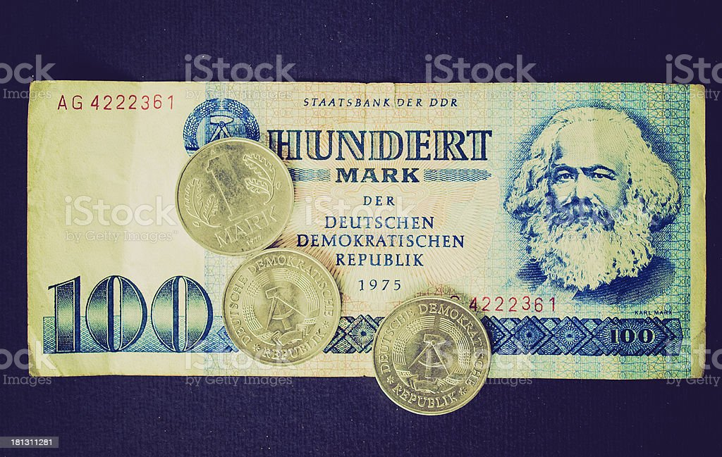 Retro look DDR banknote stock photo