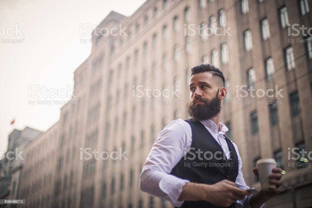 Retro looking businessman stock photo