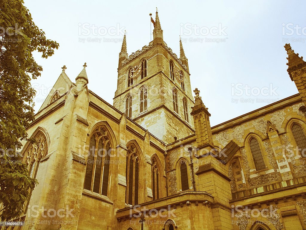 Retro looking Southwark Cathedral, London stock photo