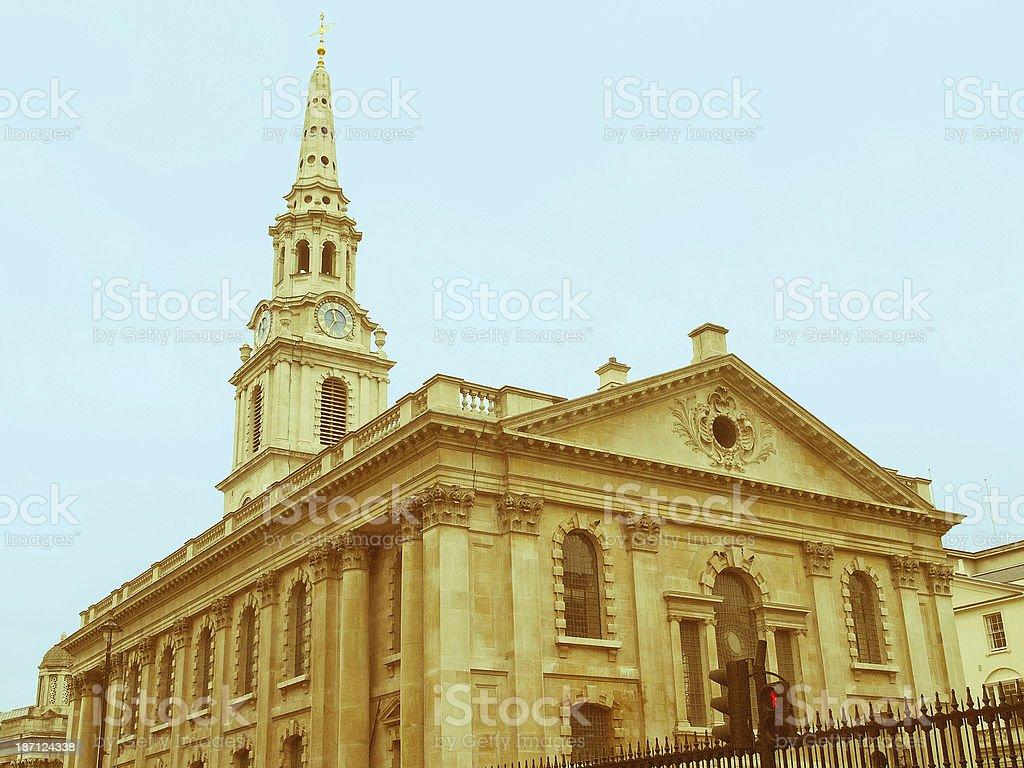 Retro looking St Martin church, London stock photo