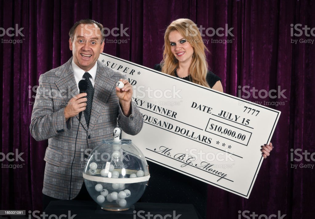 Retro Lottery Host and Assistant stock photo
