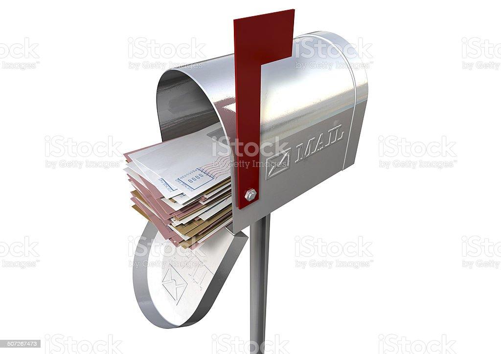 Retro Mail Box And White Envelope Stack stock photo