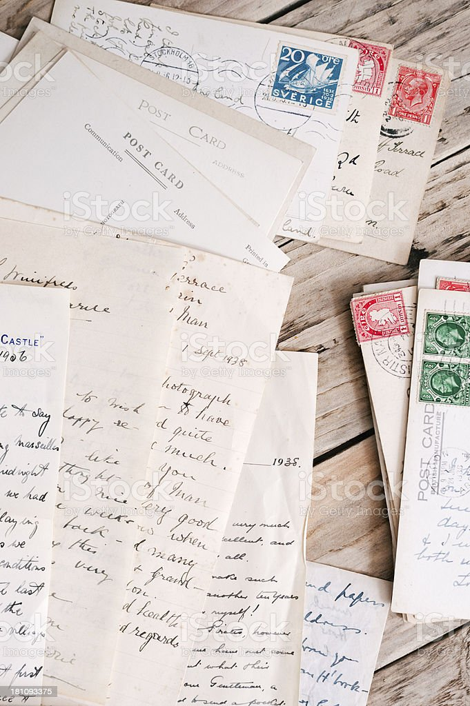 retro mail - vintage handwritten letters, notes and postcards royalty-free stock photo