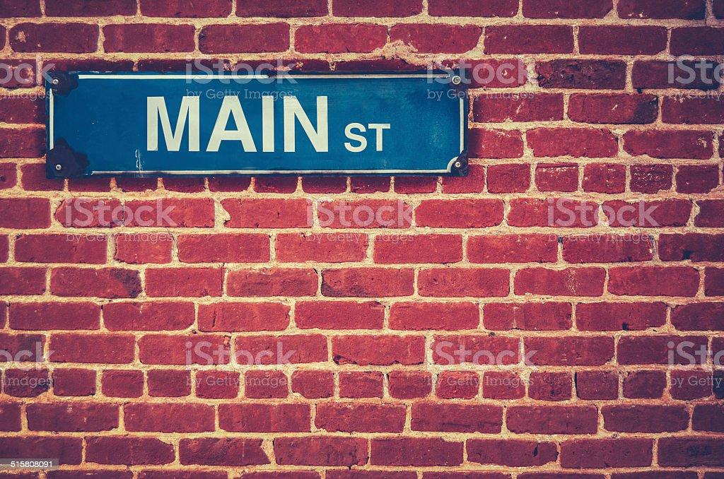 Retro Main Street Sign stock photo