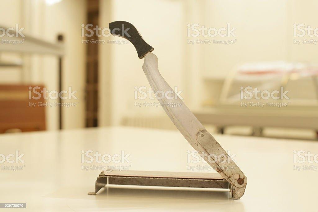 Retro manual cutter guillotine paper stock photo