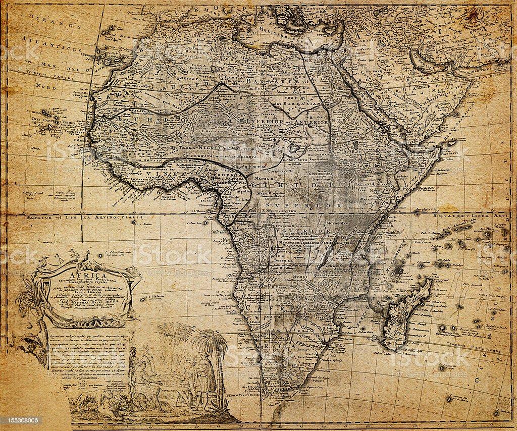 retro map, 18 century (Africa) stock photo