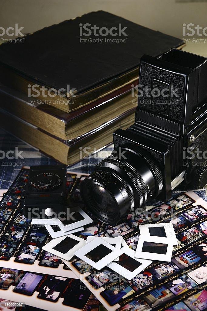 Retro Medium Format Film Camera and Paraphernalia stock photo