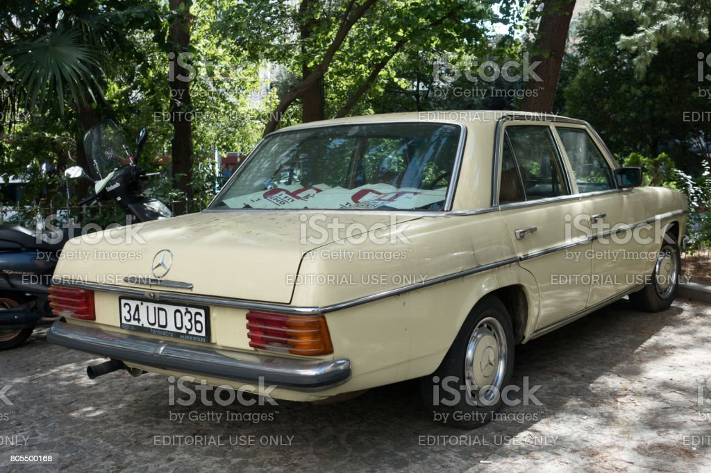 Retro Mercedes car parking in the street stock photo