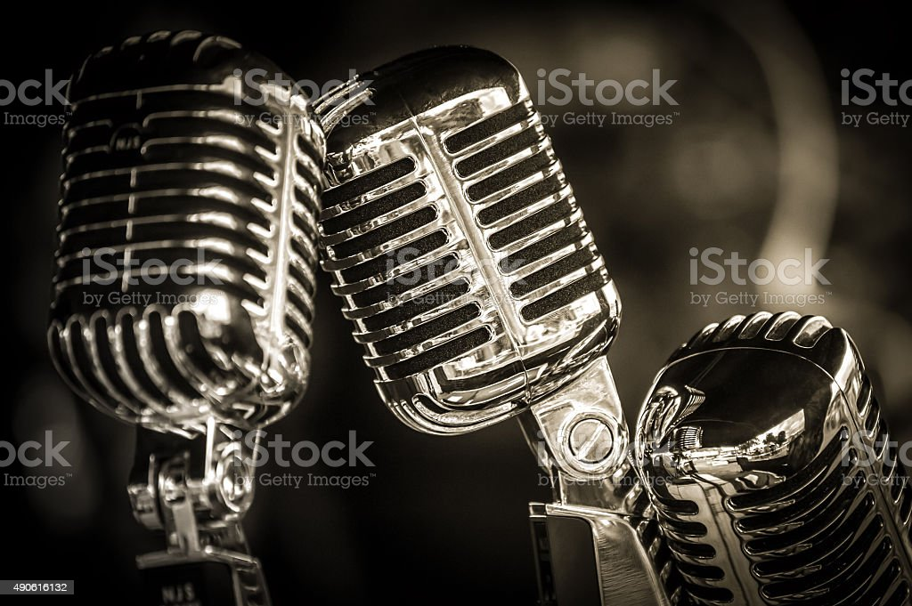 retro microphone closeup stock photo